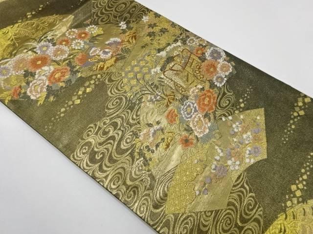 地紙に流水・花鳥模様織出し袋帯【リサイクル】【中古】【着】 宗sou