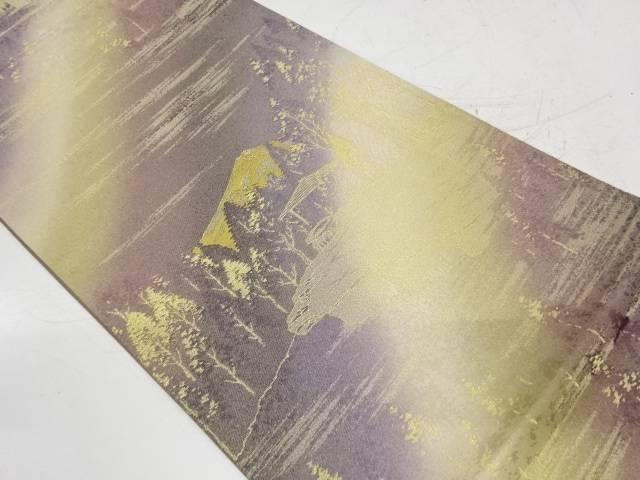 霞に遠山風景模様織出し全通袋帯【リサイクル】【中古】【着】 宗sou