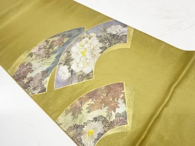 引箔金彩螺鈿地紙に牡丹・菊模様袋帯【リサイクル】【中古】【着】 宗sou