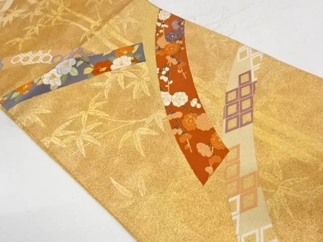 椿に枝梅・菱模様織出し袋帯【リサイクル】【中古】【着】 宗sou
