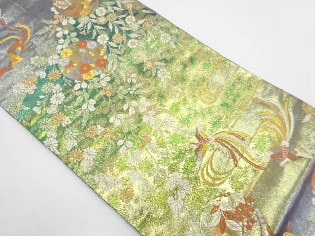 鳳凰に草花模様織出し袋帯【リサイクル】【中古】【着】 宗sou