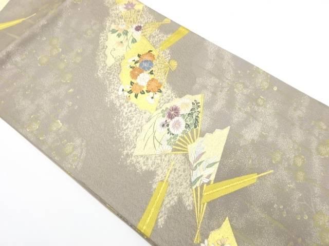 扇に草花模様織出し袋帯【リサイクル】【中古】【着】 宗sou
