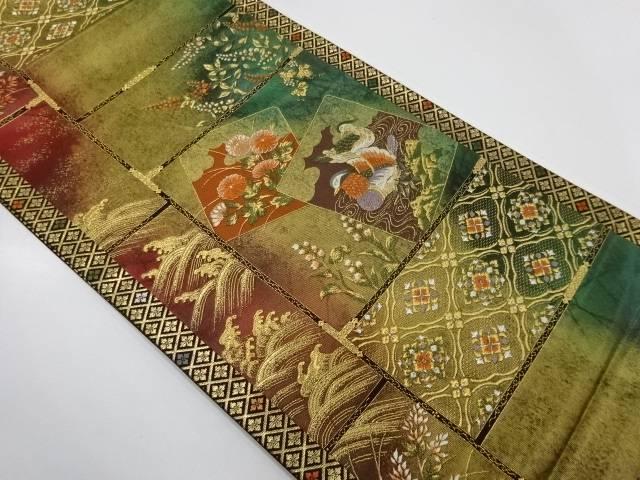 色紙に鴛鴦・草花模様織出し袋帯【リサイクル】【中古】【着】 宗sou