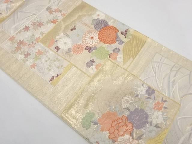 色紙に草花模様織出し袋帯【リサイクル】【中古】【着】 宗sou