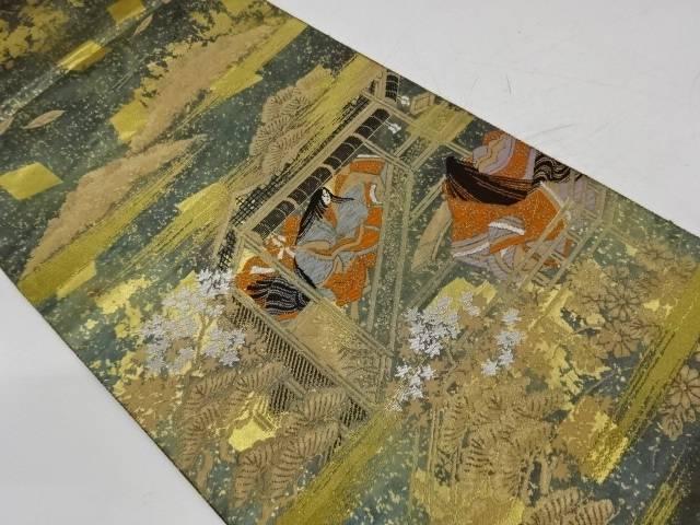 服部織物製 引箔平安絵巻文様織出し袋帯【リサイクル】【中古】【着】 宗sou