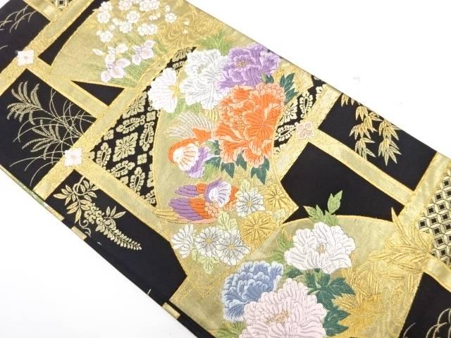 地紙に鴛鴦・牡丹模様織出し袋帯【リサイクル】【中古】【着】 宗sou