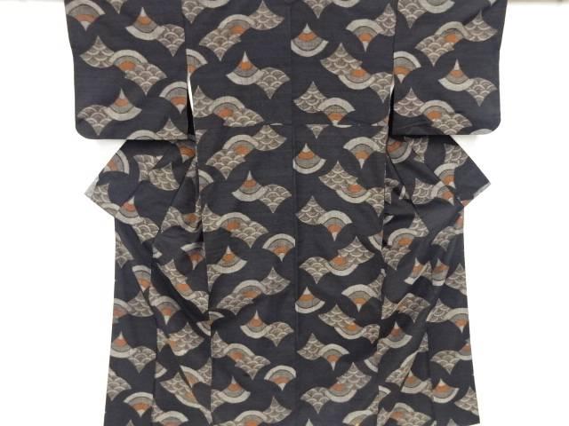 泥染青海波模様織出手織り真綿紬着物【リサイクル】【中古】【着】 宗sou