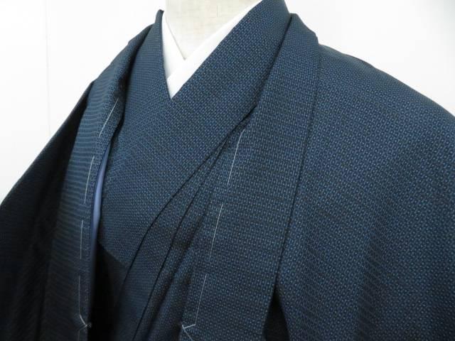 紬 アンサンブル 男物 幾何学文 着物【リサイクル】【中古】【着】 宗sou