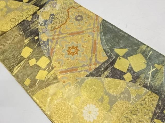 引箔地紙に華紋・花唐草模様織出し袋帯【リサイクル】【中古】【着】 宗sou