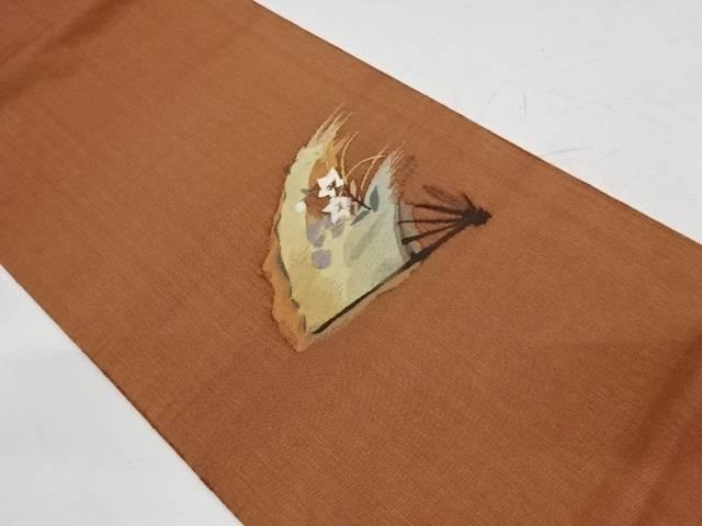 綴れ扇に桔梗模様織出し袋帯【リサイクル】【中古】【着】 宗sou