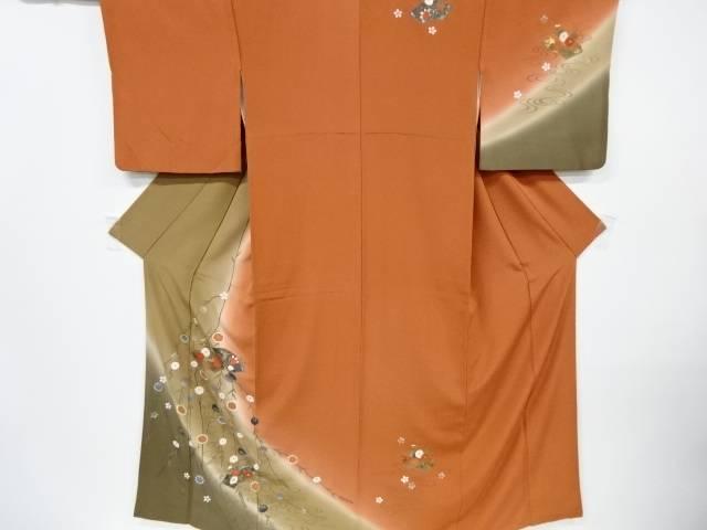 金彩地紙に牡丹・菊・橘模様訪問着【リサイクル】【中古】【着】 宗sou