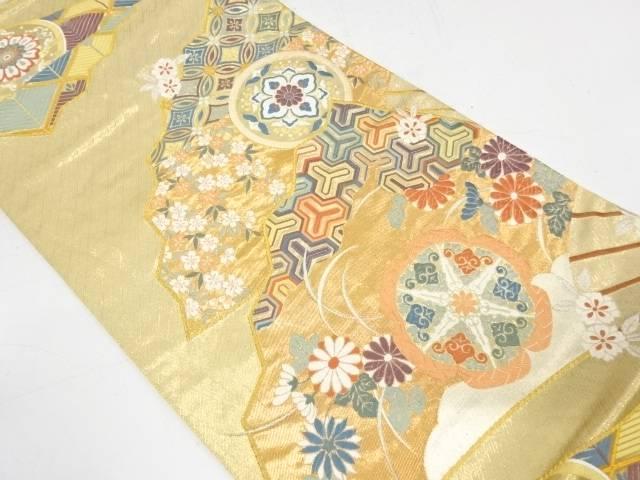 扇面に草花・古典柄模様織出し袋帯【リサイクル】【中古】【着】 宗sou