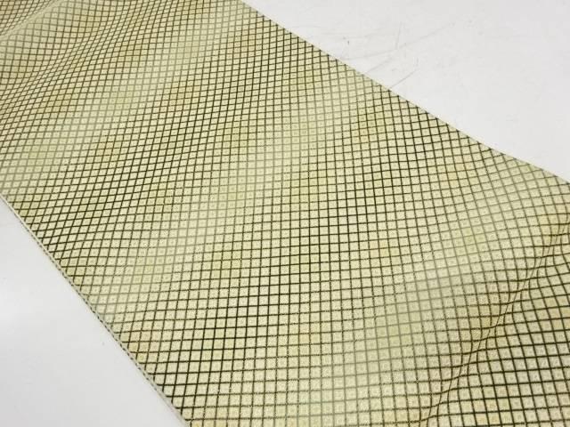 斜め格子に抽象模様織出し袋帯【リサイクル】【中古】【着】 宗sou