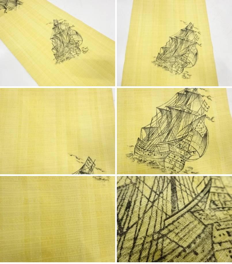 手描き帆船模様全通袋帯【リサイクル】【着】宗sou