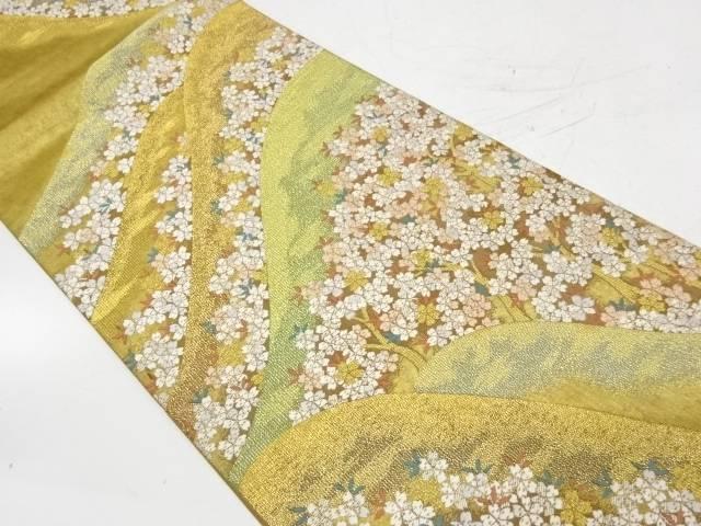 本金箔山並みに桜模様織出し袋帯【リサイクル】【中古】【着】 宗sou