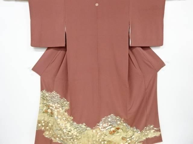 金彩友禅寺院に流水・草花模様一つ紋色留袖(比翼付き)【リサイクル】【中古】【着】 宗sou