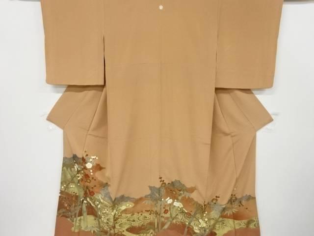 金彩枝梅に竹笹模様刺繍一つ紋色留袖【リサイクル】【中古】【着】 宗sou