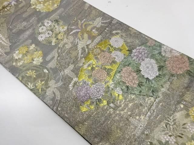 地紙に花鳥模様織出し袋帯【リサイクル】【中古】【着】 宗sou