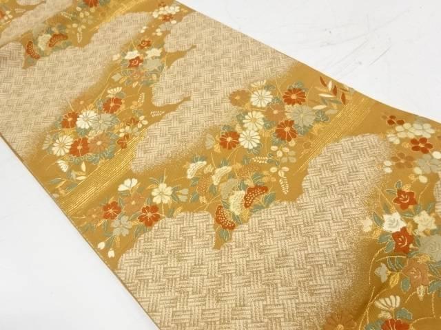雲取りに秋草模様織出し袋帯【リサイクル】【中古】【着】 宗sou