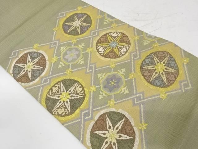すくい織丸紋に抽象花模様織出し袋帯【リサイクル】【中古】【着】 宗sou