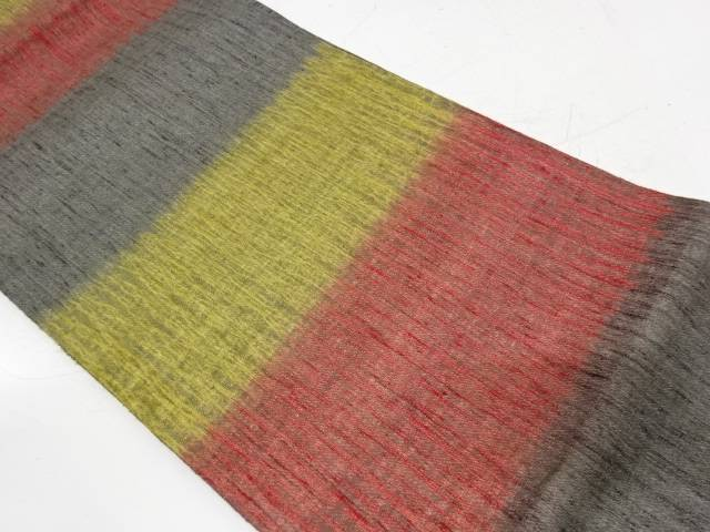 すくい織横段模様織出し全通袋帯【リサイクル】【中古】【着】 宗sou