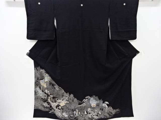 南蛮人物・風景模様刺繍留袖(比翼付き)【リサイクル】【中古】【着】 宗sou