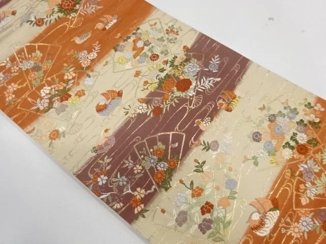 檜扇に花鳥模様織出し袋帯【リサイクル】【中古】【着】 宗sou