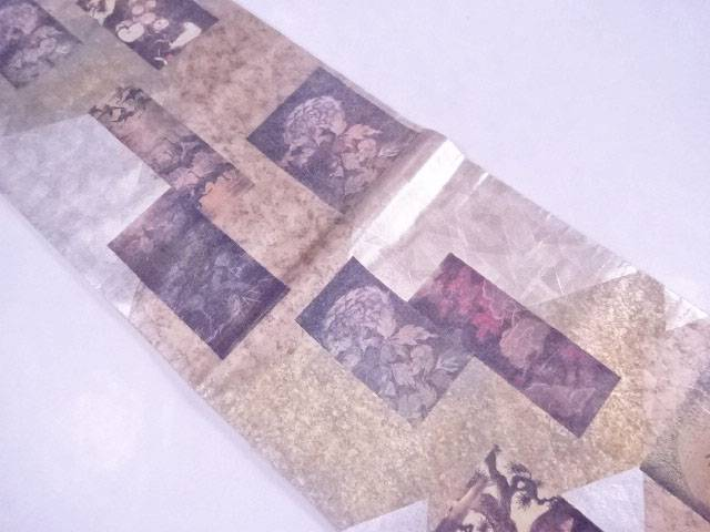 袋帯 西陣織 螺鈿 色紙に花鳥文【リサイクル】【中古】【着】 宗sou