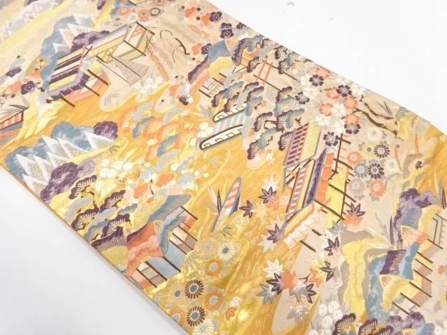 家屋風景模様織出し袋帯【リサイクル】【中古】【着】 宗sou