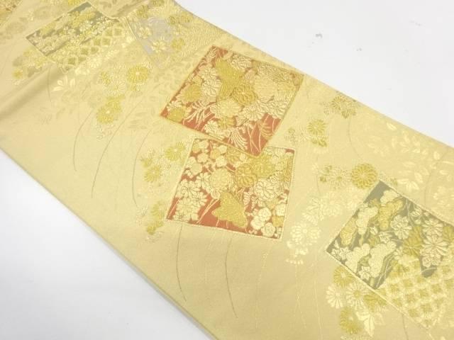 本金箔蒔絵色紙に草花模様織出し袋帯【リサイクル】【中古】【着】 宗sou