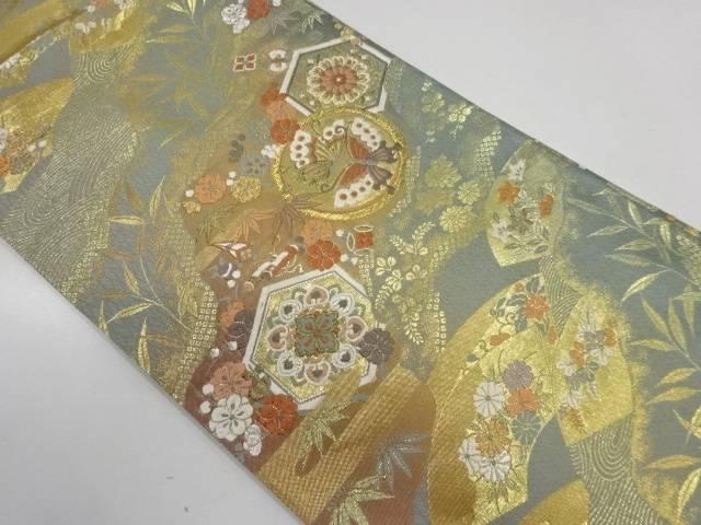 蝶に草花模様織出し袋帯【リサイクル】【中古】【着】 宗sou