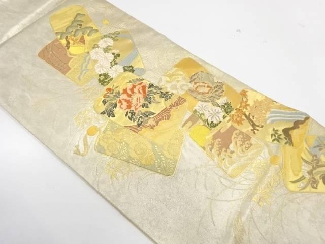 印籠に草花模様織出し袋帯【リサイクル】【中古】【着】 宗sou