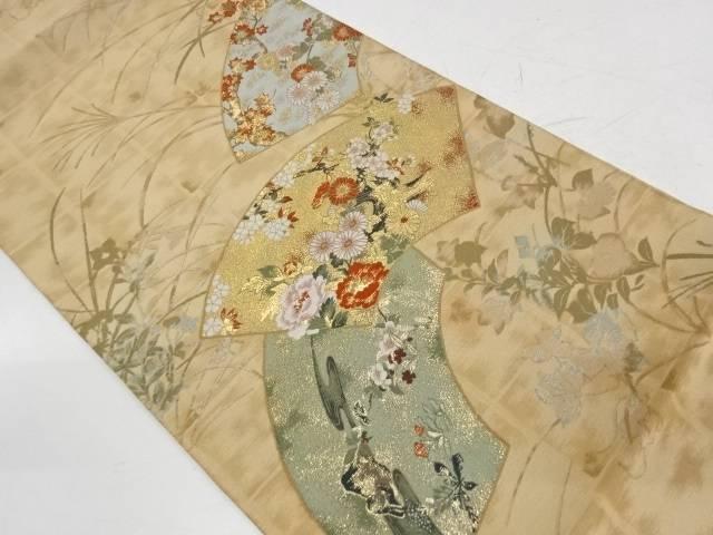 地紙に流水・草花模様織出し袋帯【リサイクル】【中古】【着】 宗sou