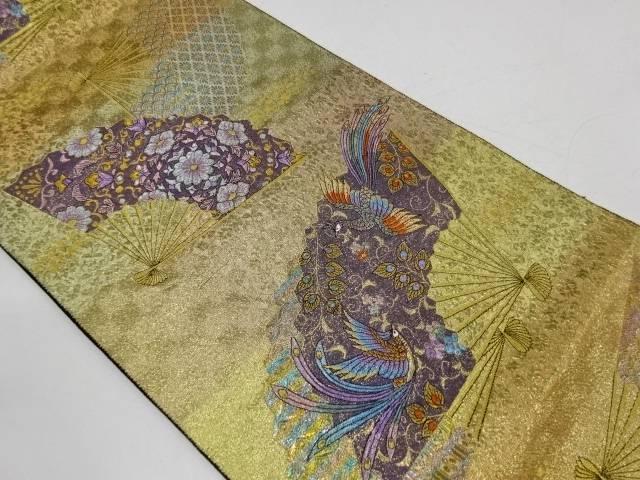 扇面に花鳥模様織出し袋帯【リサイクル】【着】 宗sou:お茶道具・着物 【宗 sou】