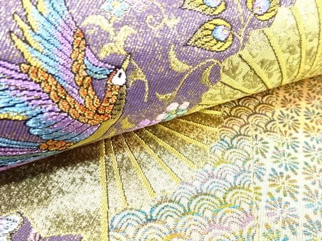 扇面に花鳥模様織出し袋帯【リサイクル】【着】 宗sou