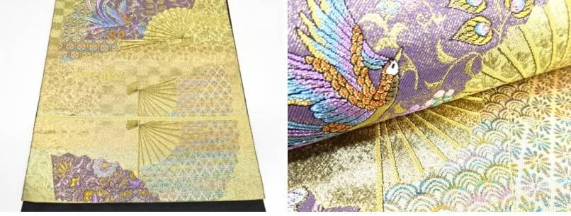 扇面に花鳥模様織出し袋帯【リサイクル】【着】宗sou