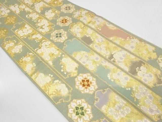 変わり縞に桜模様織出し袋帯【リサイクル】【中古】【着】 宗sou
