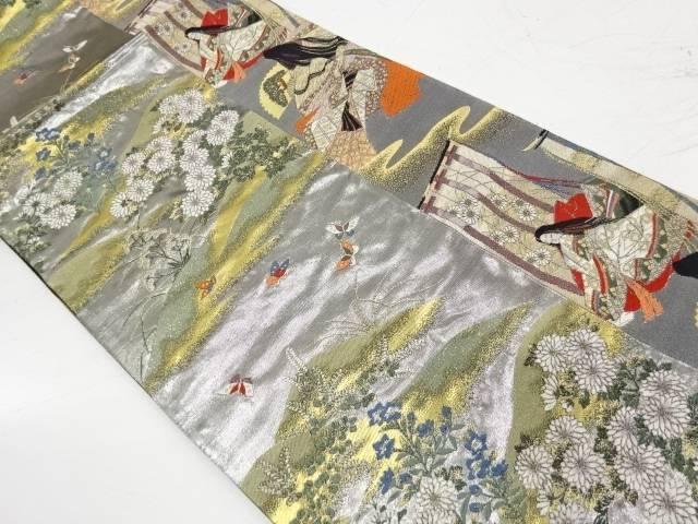 縞に十二単・草花模様織出し袋帯【リサイクル】【中古】【着】 宗sou