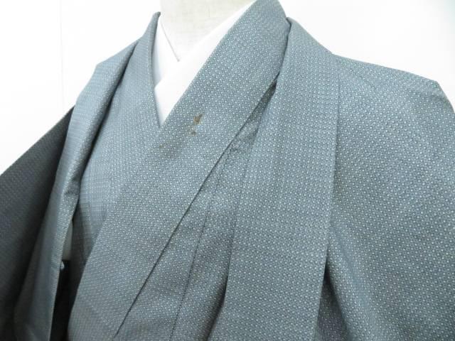男物大島紬 アンサンブル 幾何学文 着物【リサイクル】【中古】【着】 宗sou