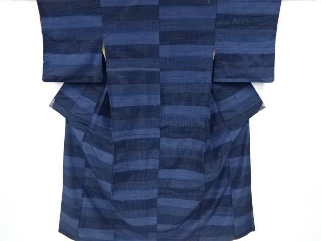 横段に格子模様織り出し手織り真綿紬着物アンサンブル【リサイクル】【中古】【着】 宗sou