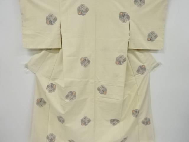 未使用品 草花模様織り出し手織り真綿紬着物【リサイクル】【着】 宗sou