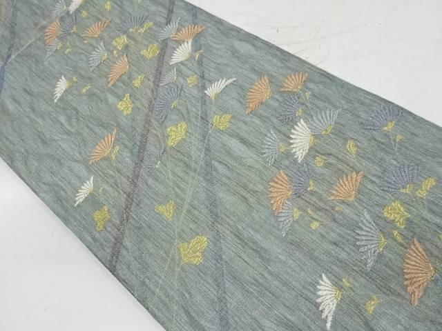 斜め縞に花模様織出し袋帯【リサイクル】【中古】【着】 宗sou