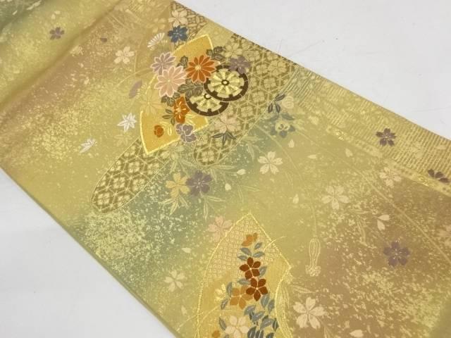 地紙に花車・ヱ霞模様織出し袋帯【リサイクル】【中古】【着】 宗sou