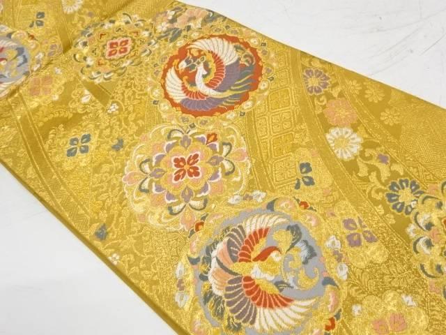 しらえ織物製 鳳凰に華紋・草花模様織出し袋帯【リサイクル】【中古】【着】 宗sou