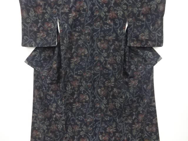 抽象花模様織り出し手織り真綿紬着物【リサイクル】【着】 宗sou:お茶道具・着物 【宗 sou】