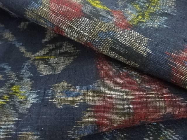 抽象花模様織り出し手織り真綿紬着物【リサイクル】【着】 宗sou