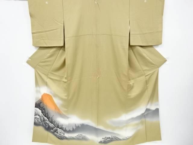 茶道具 茶道 激安通販販売 着物 手描き赤富士模様五つ紋色留袖 比翼付き 中古 着 至上 宗sou リサイクル