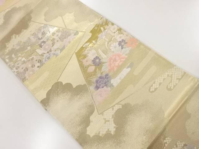 茶道具 茶道 着物 ブランド買うならブランドオフ 本金色紙に花車模様織出し袋帯 着 購入 リサイクル 中古 宗sou