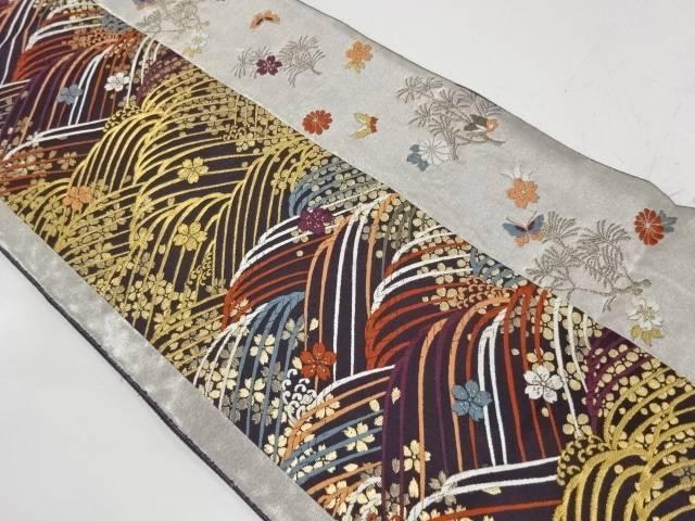 波に蝶・桜散らし模様織出し袋帯【リサイクル】【中古】【着】 宗sou