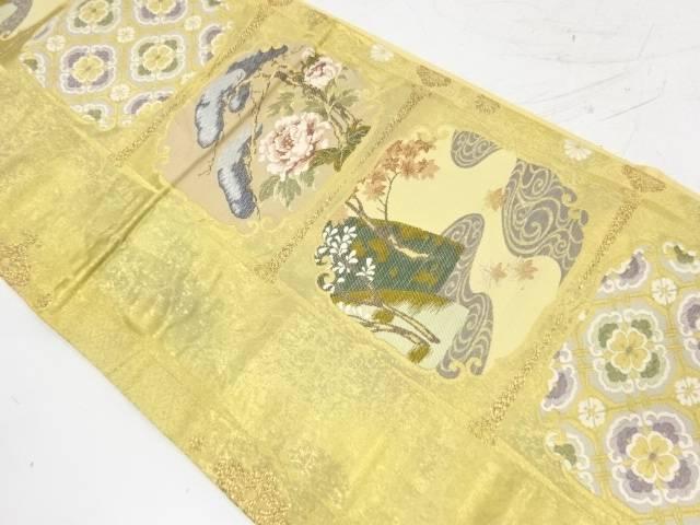 引箔松に流水・牡丹模様織出し袋帯【リサイクル】【中古】【着】 宗sou